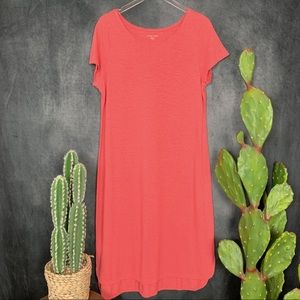 Eileen Fisher Dresses - Eileen Fisher Boatneck Hemp Slub Dress Coral L